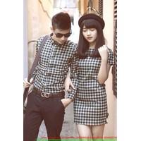Made in Thái Lan : Set áo váy cặp phối sọc tình nhân cực iu sATD62