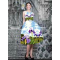 Đầm in hoa 3D dáng xòe Vintage