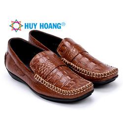 Giày nam Huy Hoàng vân cá sấu màu nâu