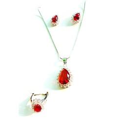 Bộ trang sức kim loại bạc đá đỏ hình tim BTSBTIMDADO03-525