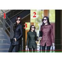 Style Korea : Áo khoác da cao cấp form dài công sở sang trọng AKE47