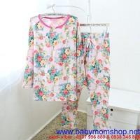 Set đồ bộ mặc nhà hình hoa xinh tươi , thun cotton cao cấp NN390