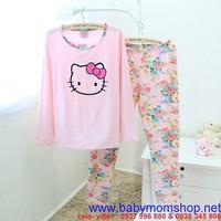 Set đồ bộ mặc nhà hình kitty , quần in hoa rất nổi bật NN394