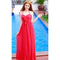 Váy maxi đi biển với thiết kế cổ yếm xinh xắn #208