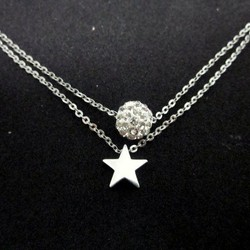 [Chuyên bỏ sỉ]  DX549 - Dây chuyền 2 tầng ngôi sao kèm ngọc đính đá