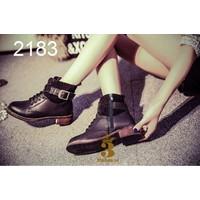 Giày boot nữ - Giày boot da - Giày boot da phối da lộn có khóa kéo