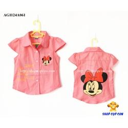 Áo sơmi hình chuột mimi màu hồng dâu