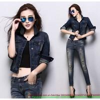 Áo khoác jeans nữ cao cấp cổ trụ đơn giản sành điệu AKNU243