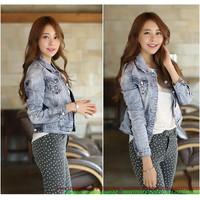 Áo khoác Jeans nữ màu xám bụi bậm chất liệu cao cấp AKNU242