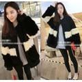 Áo khoác dạ nữ dài tay, thiết kế phối lông nhung sành điệu-AK636