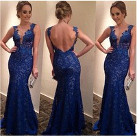 Đầm dạ hội ren xanh 12387