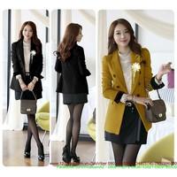 ÁO KHOÁC HÀN QUỐC:Áo khoác vest công sở cổ vest 6 nút tay hoa zAKV18