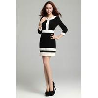 Đầm công sở Hàn Quốc đen pha trắng đơn giản, nhẹ nhàng