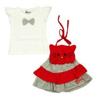 Bộ váy yếm hình mèo đỏ HC017