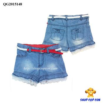 Quần short jean lai ren wash đùi kèm nịt