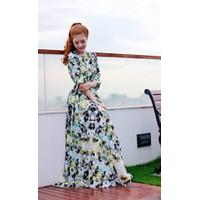 ĐẦM MỚI VỀ : Đầm dạ hội voan họa tiết hoa thiết kế tay dài DV533