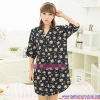 Đầm ngủ kiểu dáng áo sơ mi trẻ trung họa tiết hoa cực xinh DNL184