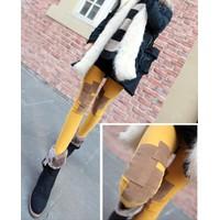 Quần legging nữ phối họa tiết chắp vá, phong cách cá tính-Q342