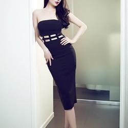 Váy ống ôm body đẹp thiết kế đan dây eo như Ngọc Trinh DM3