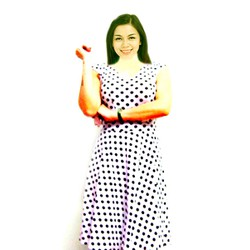 Đầm trắng chấm bi đen  ĐCHAMBIDEN-200