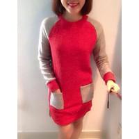 Đầm nỉ 2 túi form dài đỏ
