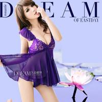 Đầm ngủ nữ thun ren lưới thời trang sexy, gợi cảm-DN366