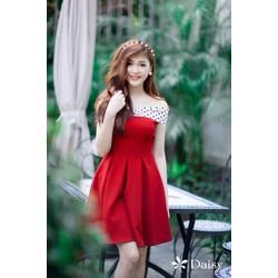 Đầm xoè bẹt vai phối chấm bi xinh đẹp