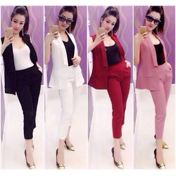shopthaonhi - Set nguyên bộ quần lửng áo vest gilê kèm áo thun trong