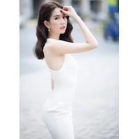 Đầm trắng cổ lọ Ngọc Trinh 881