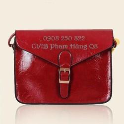 Túi đeo chéo da bóng kiểu dáng đơn giản dễ kết hợp, hàng nhập