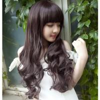 Tóc giả dài xoăn nhẹ mái ngang phong cách Korea