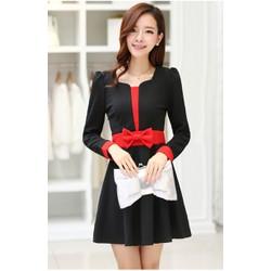 Đầm thun xòe nữ dài tay thời trang, màu sắc duyên dáng-D2852