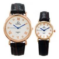Đồng hồ đôi Omega đính đá dây da 1203.496FM