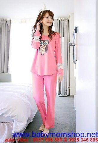 Sét đồ bộ ngủ hình cú mèo , tay ren hoa xinh xắn NN400 1