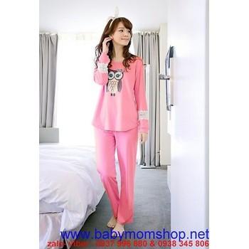 Sét đồ bộ ngủ hình cú mèo , tay ren hoa xinh xắn NN400