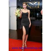 Đầm đen ôm body thiết kế 2 dây mảnh xẻ tà tạo vẻ quyến rũ DV575