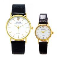 Đồng hồ đôi Rolex dây da viền vàng RL101