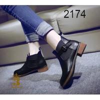 Giày boot nữ - Giày boot nữ - Giày boot nữ chất da dây khóa cổ chân