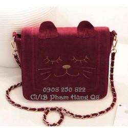 Túi nữ Túi đeo chéo hình mèo xinh xắn đáng yêu, hàng nhập. Đen, Đỏ