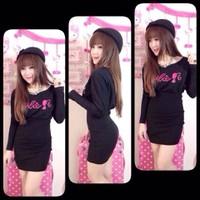 Đầm thun body đen có chữ barbie D039