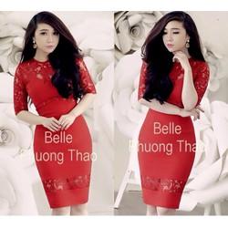 Đầm ren đỏ thiết kế cut out giống bella D612