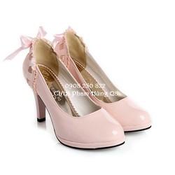 Giày cao gót Da Bóng thắt nơ phía sau duyên dáng nữ tính Hàng Nhập