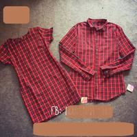 D625-220 Set áo cặp đầm suông caro