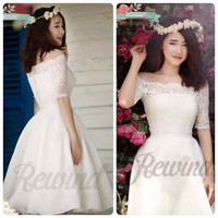 Đầm trắng ren xòe trễ vai Rewind