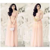 Đầm maxi hồng cúp ngực 2 dây phối ren bella-D794