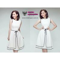 Đầm xỏe cao cấp trắng viền đen mẫu mới nhất  DV715