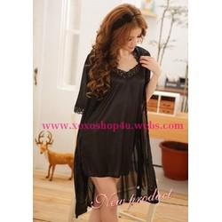 L009 Set áo khoát và đầm ngủ đen quyến rũ