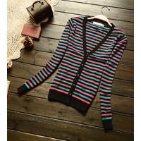 áo khoác cardigan sọc ngang Mã: AO1950 - XANH