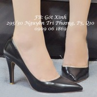 Giày cao gót viền mica trong khoét eo đen-GX162