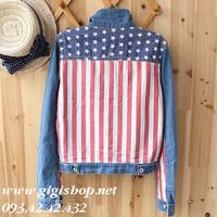Áo khoác jean cờ Mỹ in sau lưng độc đáo